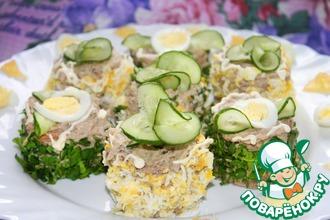 Рецепт: Бутербродные мини-тортики с селедочным кремом