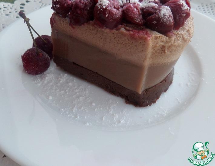 Рецепт: Желейный торт Градиент с вишней