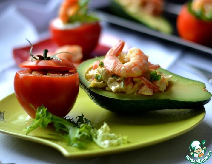 Рецепт: Закуска из фаршированных помидоров и авокадо