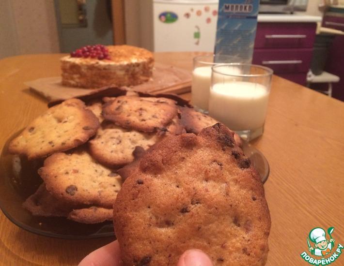 Рецепт: Печенье с шоколадом и орешками