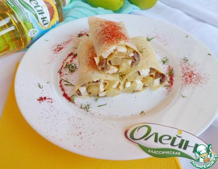 Рецепт: Яблочно-грибная начинка для блинов