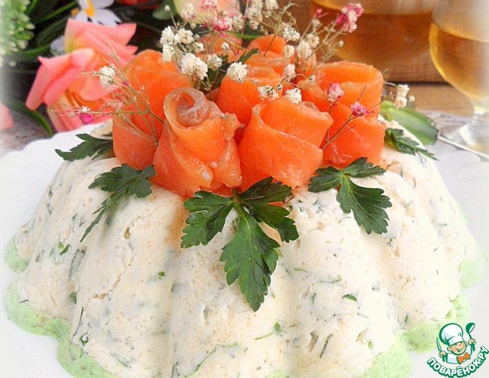 Рецепт: Закусочный чизкейк с красной рыбой и икрой