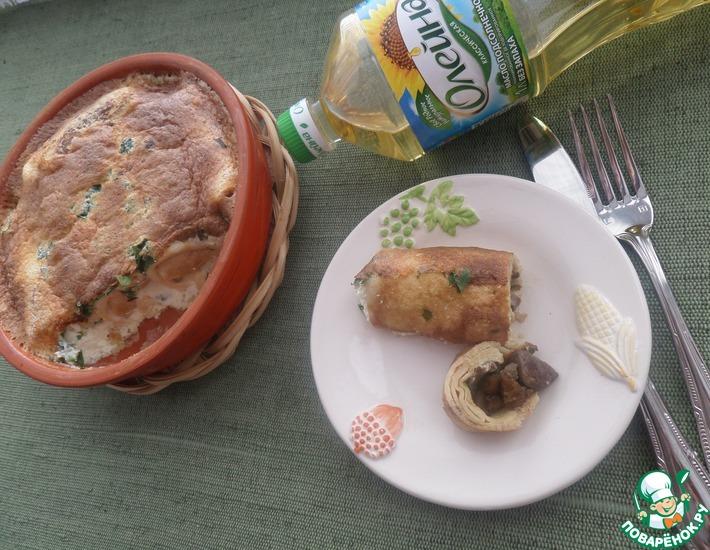 Рецепт: Запеченные блины с гусиной печенью и грибами
