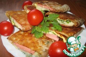 Рецепт: Бутерброды из лаваша по-домашнему