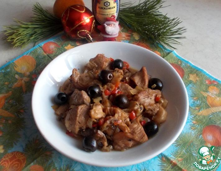 Рецепт: Свинина с маслинами и вешенками