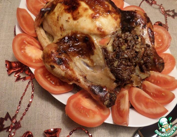 Рецепт: Курица, фаршированная рисом, яблоком, барбарисом