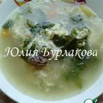 Суп с куриными спинками и яйцом