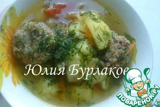 Рецепт: Картошка с тефтелями из мяса и гречки