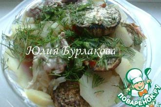 Рецепт: Тушеный картофель с мясом и баклажанами