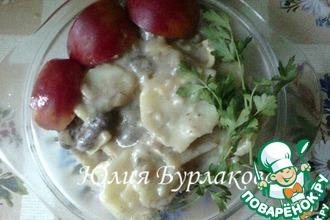 Рецепт: Куриные сердечки с картофелем в духовке