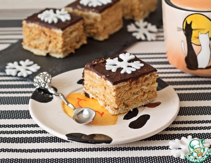 Рецепт: Пирожное без выпечки Сливочно-карамельное