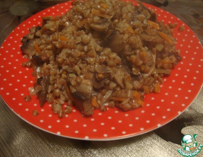 Рецепт: Тушеная гречка с грибами