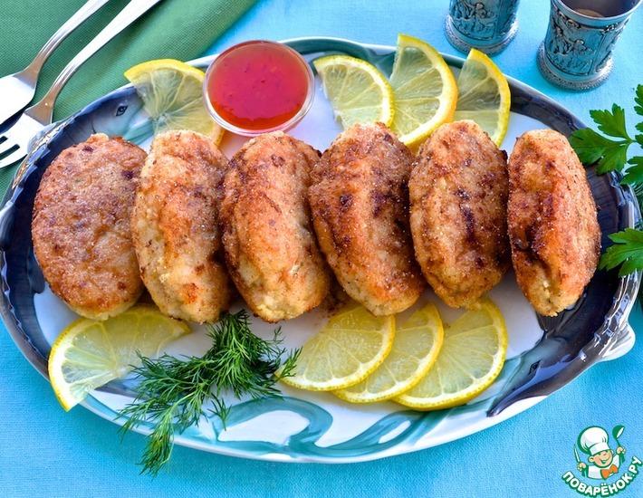 Рецепт: Рыбные котлеты в стиле по-киевски