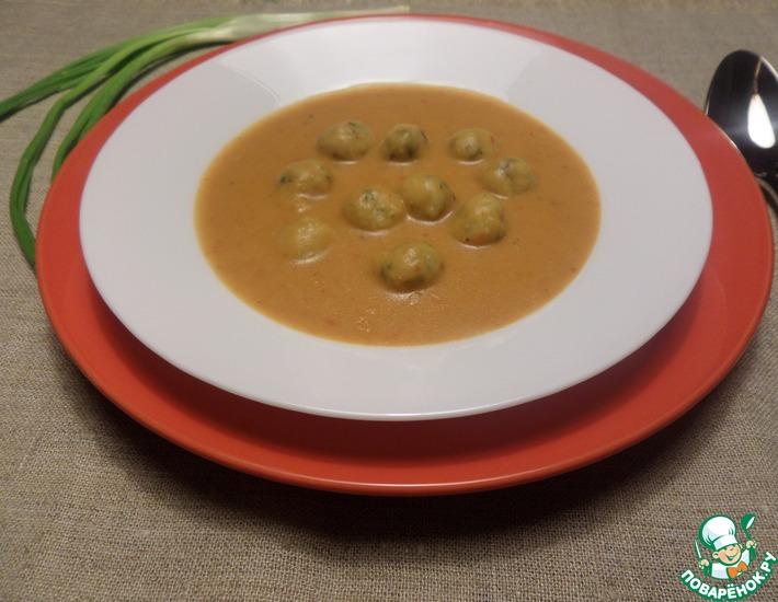 Рецепт: Овсяно-овощной суп-пюре с сырными шариками