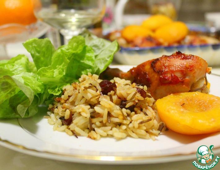 Рецепт: Куриные голени с консервированными персиками