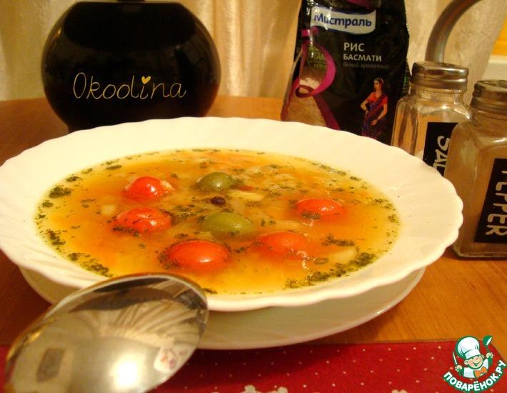 Рецепт: Рисовый суп с овощами и тыквой