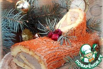 Рецепт: Закусочное рождественское полено с печеночным кремом