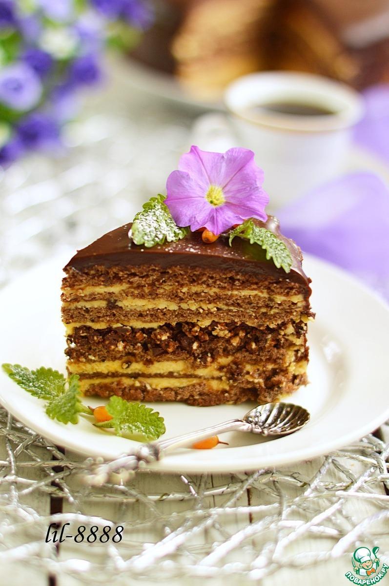 Шоколадный торт с облепиховым кремом и воздушной гречкой
