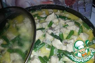 Рецепт: Фрикасе из курицы с грибами и фасолью