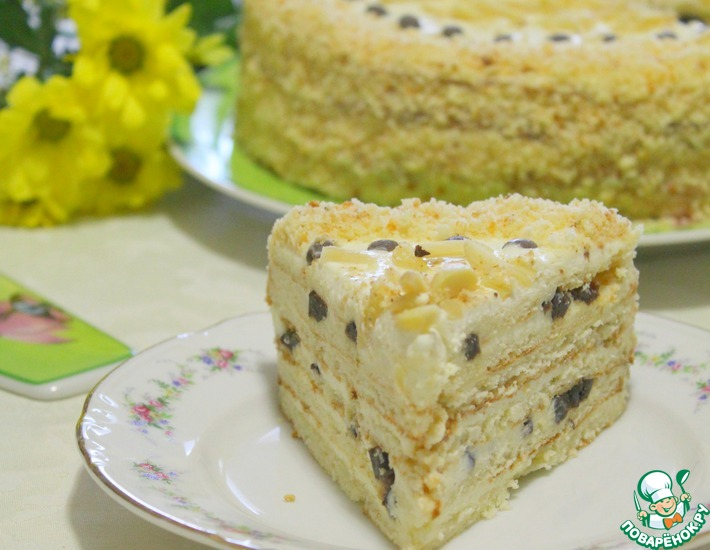 Рецепт: Торт с черносливом и творожными коржами