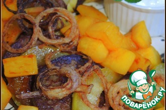 Рецепт: Оладьи печеночные с яблоками и тыквой