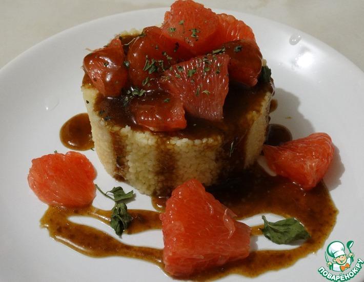 Рецепт: Десерт с грейпфрутом и кофейным соусом