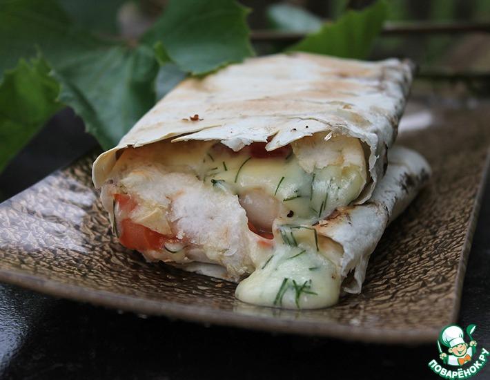 Рецепт: Конвертики из лаваша с сулугуни на мангале