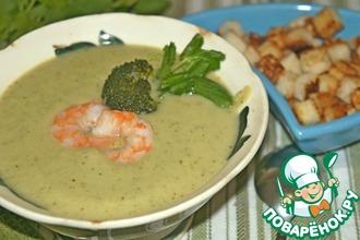 Рецепт: Суп-пюре из брокколи с креветками