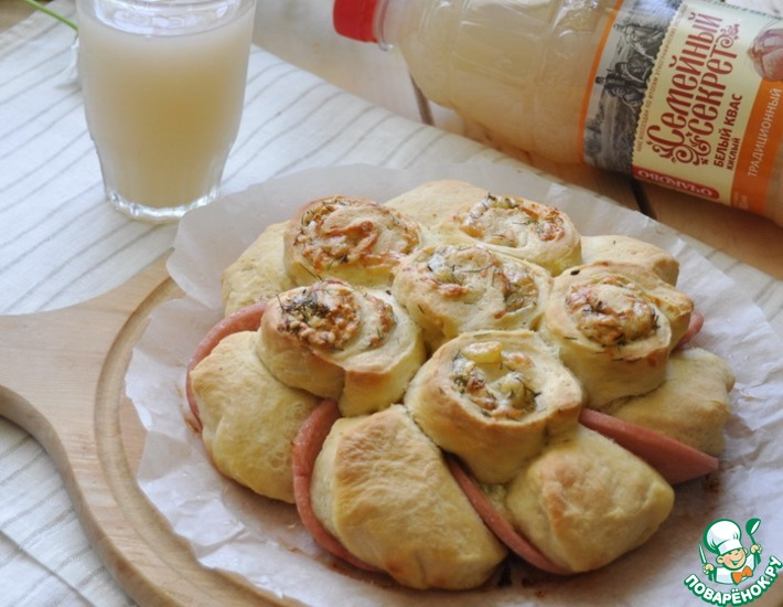 Рецепт: Хлеб с сыром и колбасой 800-ый