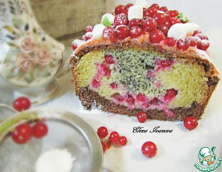 Рецепт: Трехслойный кекс с красной смородиной