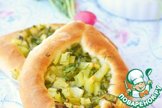 Рецепт: Открытые пирожки с картофелем и зеленью