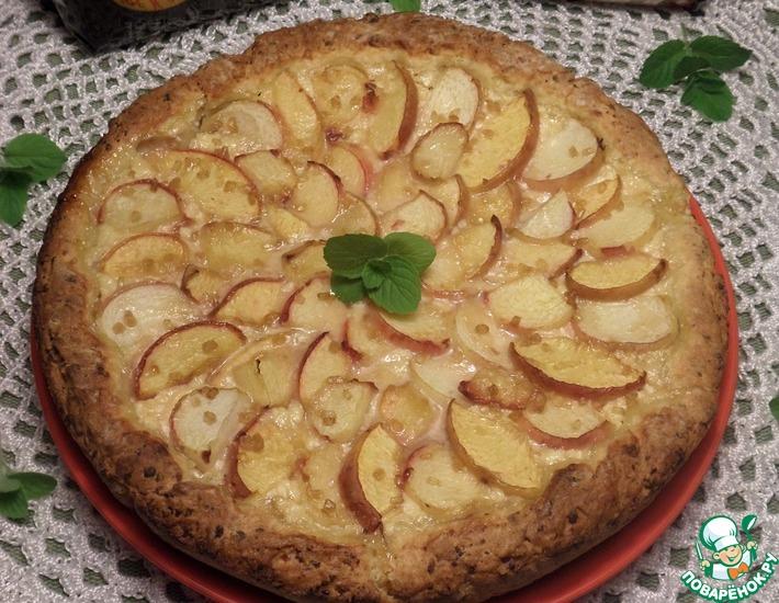 Рецепт: Пирог с персиками Двойной творожный