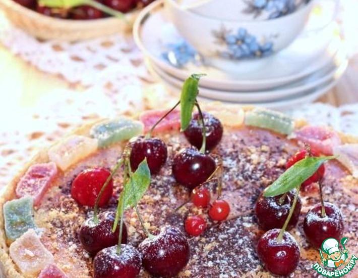 Рецепт: Творожный пирог с ягодой и мармеладом