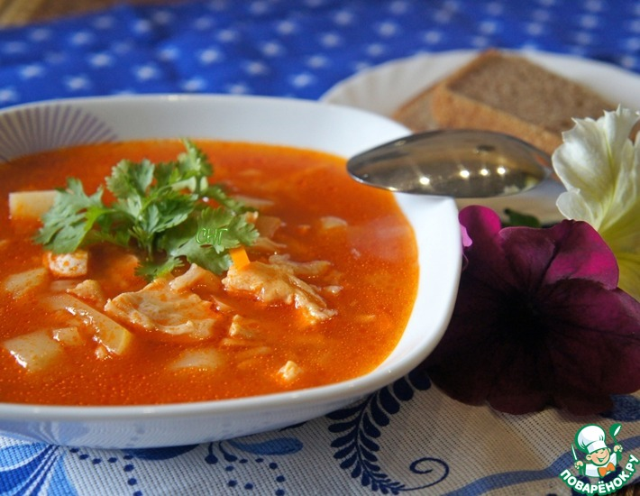 Рецепт: Рыбный суп из брюшек лосося