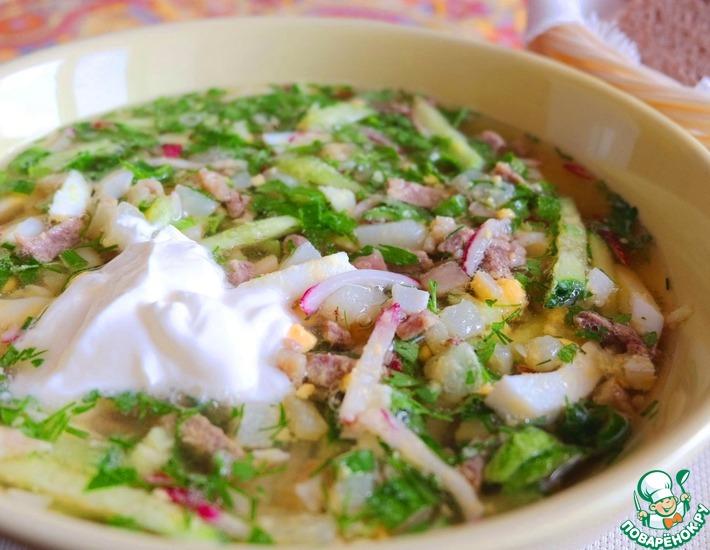 Рецепт: Окрошка Крестьянская с солеными груздями