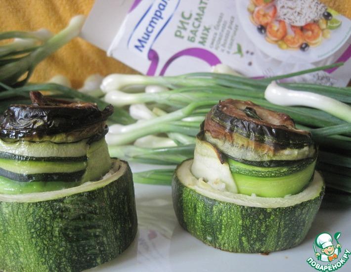 Рецепт: Рыбные рулетики в кабачке