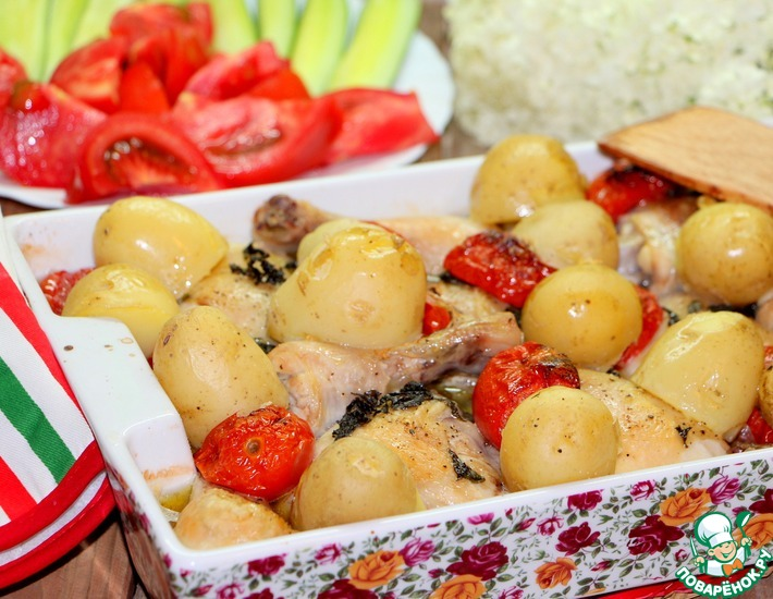 Рецепт: Курица с базиликом и томатами