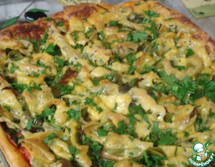 Рецепт: Пицца вегетарианская с горьким перцем