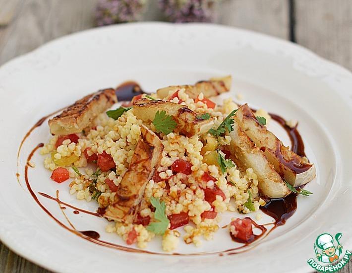 Рецепт: Пшено с баклажаном и помидором