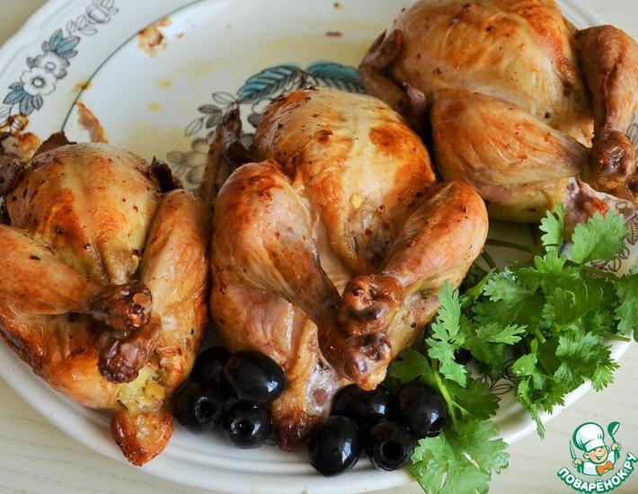Рецепт: Цыплята-корнишоны с картофельно-чечевичным пюре