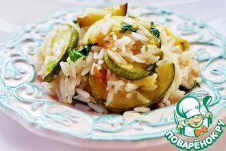 Рецепт: Рис с кабачками, копченым сыром и мятой