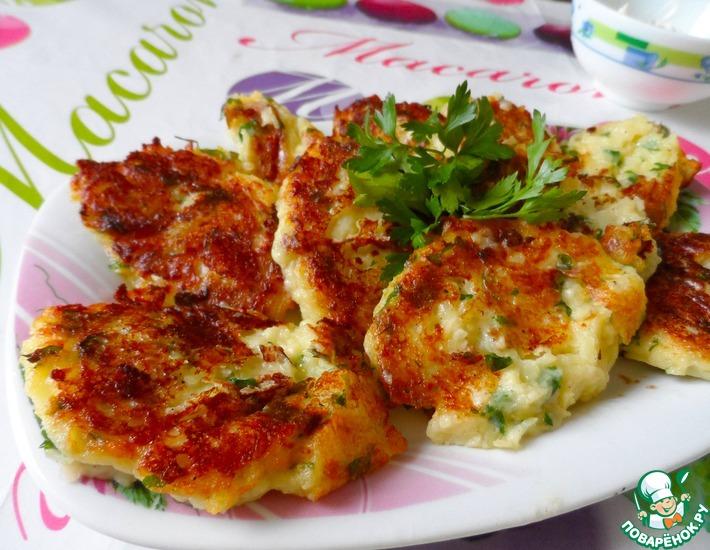 Рецепт: Картофельные оладьи с сыром