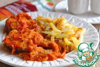 Рецепт: Щука в пряных овощах с томатом