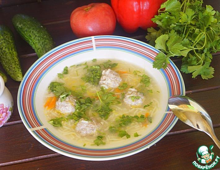 Рецепт: Суп с фрикадельками из гречневых хлопьев