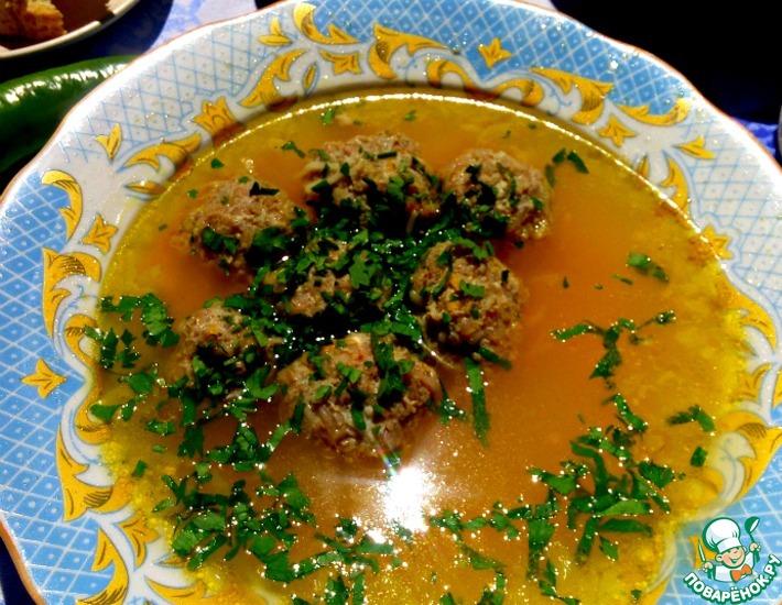 Рецепт: Суп с вермишелью и фрикадельками