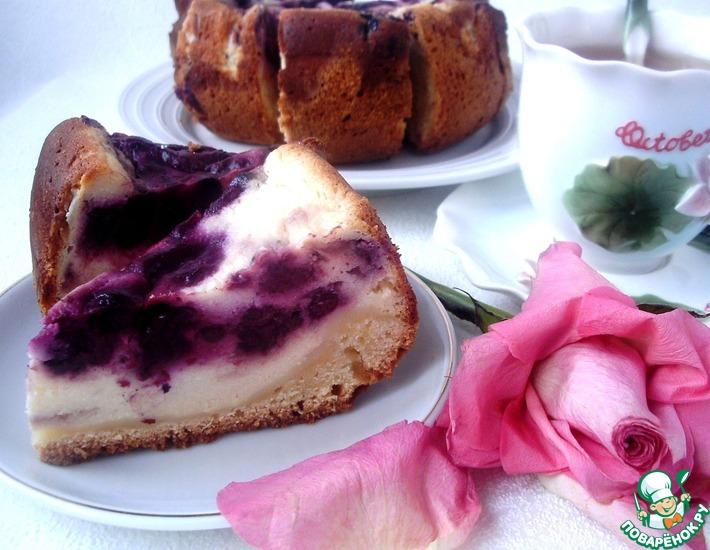 Рецепт: Пирог с голубикой в творожной заливке