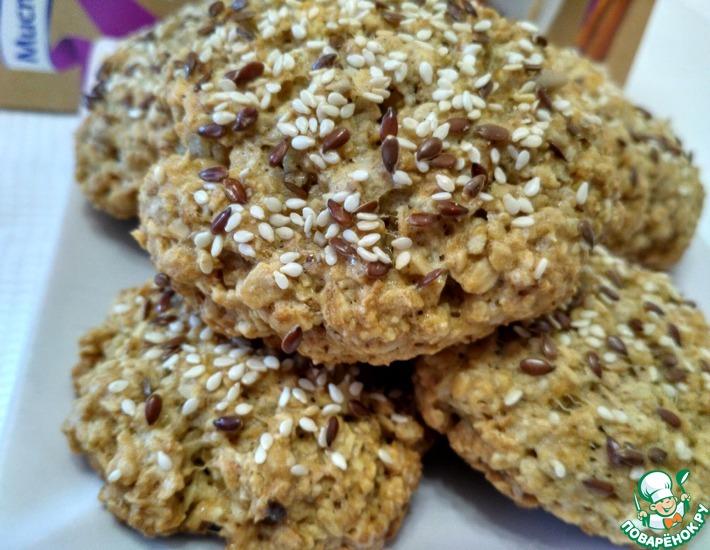 Рецепт: Овсяное печенье с кунжутом и льном