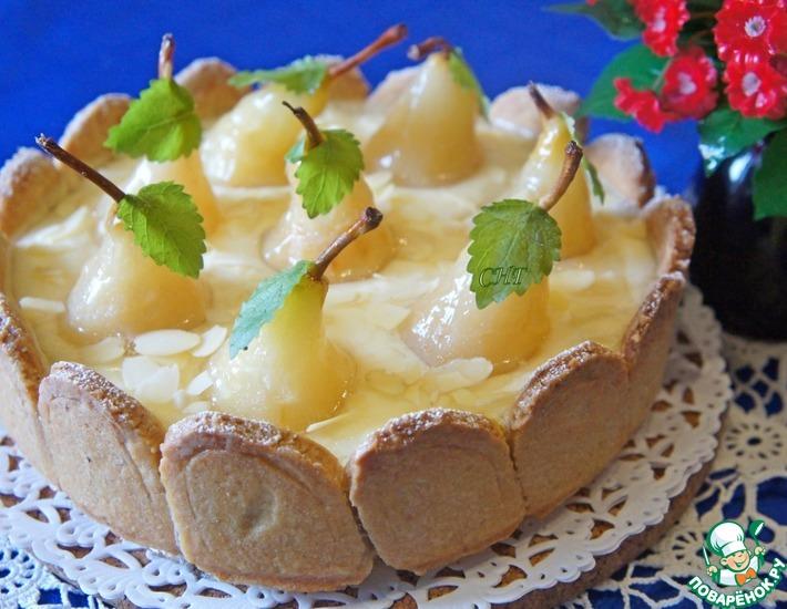 Рецепт: Пирог с грушами и сливочно-заварным кремом