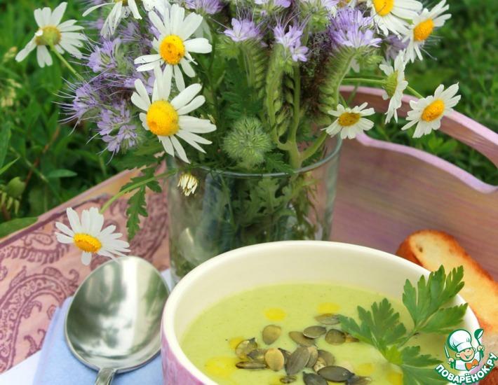 Рецепт: Зелёный бархатистый суп