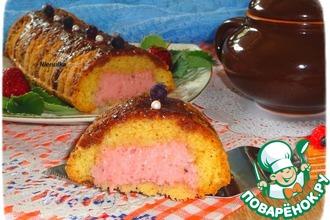 Рецепт: Кекс с клубнично-йогуртовой начинкой